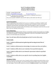 level 3 vocabulary syllabus
