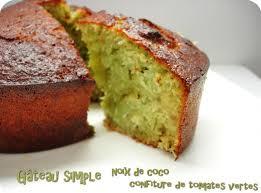 cuisiner les tomates vertes gâteau simple noix de coco et confiture de tomates vertes scrap2