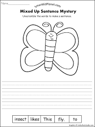 butterfly mixed up sentence writing smart kid planet