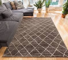 Moroccan Tile Rug Cheshire Brown Contemporary Moroccan Lattice Distressed Modern