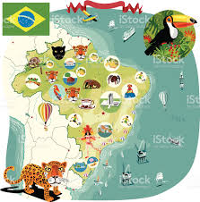 Holiday World Map by Cartoon Map Of Brazil Stock Vector Art 167588063 Istock