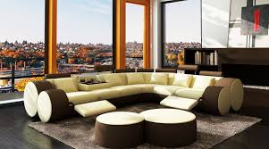 Modern Leather Sectional Sofas 3087 Modern Beige And Brown Leather Sectional Sofa And Coffee Table