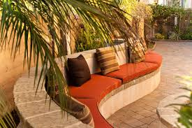 curved outdoor seating patio mediterranean with built in bench