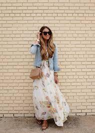 floral maxi dress and denim jacket the teacher diva a dallas