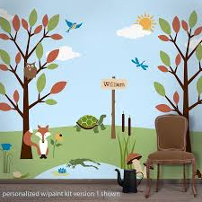 jungle safari theme kids wall mural stencils forest friends wall stencil kit for kids rooms