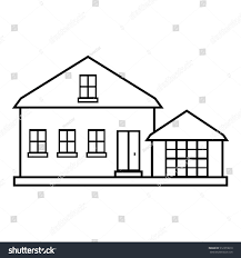 house outline suburban american house icon outline illustration stock vector