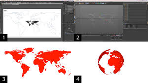 Vector World Map How To Transform A Vector World Map Into A Sphere Using The Wrap