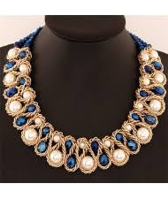 crystal and pearl inlaid metallic wire weaving statement necklace