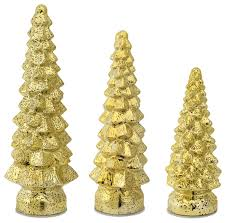 led mercury glass trees set of 3 gold contemporary