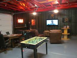 interior garage as man cave ideas with game room and tv idea
