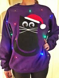 lightup ugly christmas sweater christmas kitty by tipitdesigns