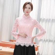 light pink lace long bell sleeve mandarin collar blouse