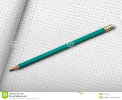 Paper With Writing Drafting Paper Or Graph Paper With Pencil Royalty Free Stock