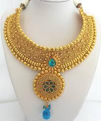 big necklace sets images Bn37 big gold and sparkly blue polki necklace set tropicalmiss jpg