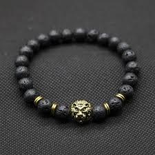 mens black beaded bracelet images Wholesale antique gold color buddha leo lion head bracelet black jpg
