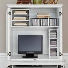 Compact Computer Cabinet Home Styles Brushed White Bermuda Compact Computer Cabinet And