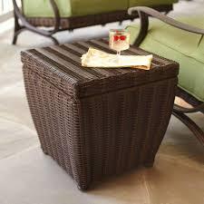 outdoor wicker storage cabinet hton bay pembrey brown all weather wicker patio storage cube