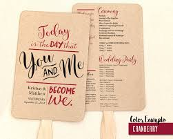 wedding program fan template you and me become we wedding program fan warm colors