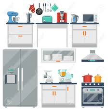 Furniture Kitchen Flat Vector Kitchen With Cooking Tools Equipment And Furniture