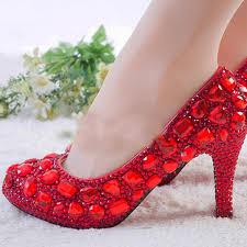 Wedding Shoes Size 9 Red Rhinestone Heels Womens Crystal Pumps Wedding Platform Dress