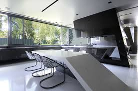 kitchen floor modern cool black extendable concrete dining table