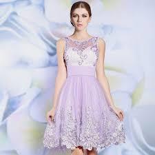 knee length illusion lavender lace cocktail dresses short prom