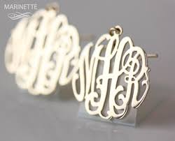 Gold Monogram Earrings 31 Best Monograms And Personalized Jewelry By Marinette Images On