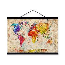 aliexpress com buy vintage retro colorful world map shabby chic