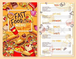 fast food menu template of snacks and meals vector price design