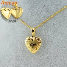 chain necklace heart images Heart allah necklace pendant women muslim jewelry gold islam chain jpg