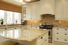 backsplash ideas for cream cabinets kitchen traditional with stone