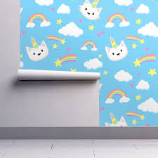unicorn cats wallpaper by doodlecats roostery home decor