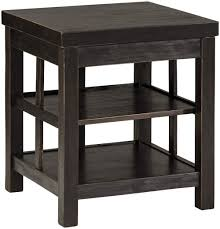 distressed black end table signature design by ashley gavelston rustic distressed black square