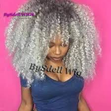 gray hair pieces for american gorgeous afro fluffy kinky curly hairstyle wig with bangs