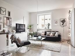 scandinavian interior apartment with mix of gray tones small