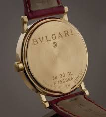 bvlgari ladies 18k yellow gold quartz bb 33 gl red leather band