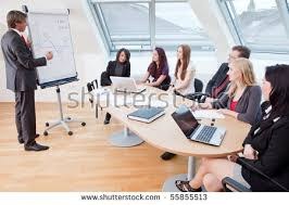 Big Meeting Table with Business Meeting Round Table Office Stock Photo 55855516