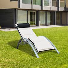 Patio Recliners Chairs Outsunny Patio Reclining Chaise Lounge Chair With Cushion Black