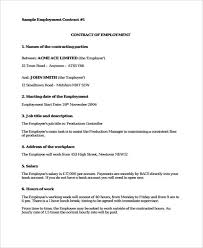 employment contracts employment contract sample free printable