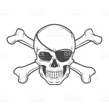jolly roger with eyepatch skull vector pirate insignia concept