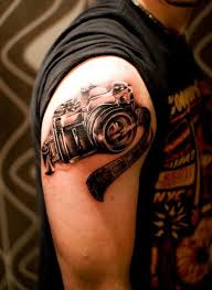men upper sleeve cover up with film camera tattoo design