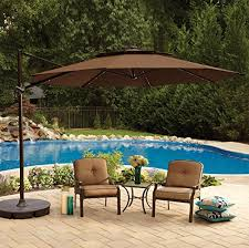 patio umbrella with solar led lights 11 foot round solar cantilever umbrella with 360º rotation vented