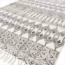 White Cotton Rug Black White Cotton Block Print Area Accent Dhurrie Rug Hand Woven