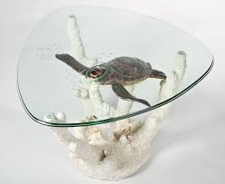 unique glass coffee tables triangular nautical glass top coffee table with swimming turtle and