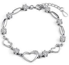 sterling silver bracelet with heart images Sterling silver bracelet women heart hand chain authentic crystal jpg