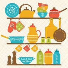 retro kitchen shelves design royalty free cliparts vectors and