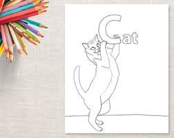 c is for cat coloring page cat coloring poster etsy