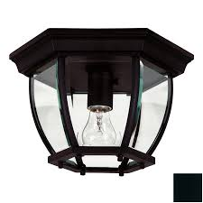Lowes Porch Lights by Shop Kenroy Home Dural 11 In W Black Outdoor Flush Mount Light At