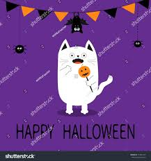 happy halloween spooky frightened cat holding stock vector