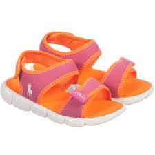 ralph lauren girls pink u0026 orange neoprene sandals childrensalon